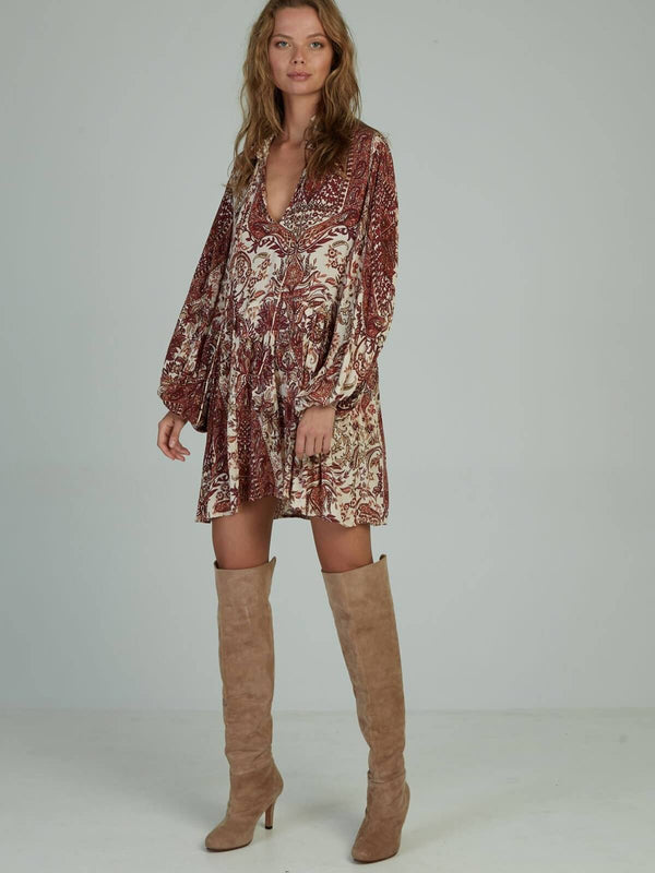 Lilya Kailani Dress Paisley Wine | Perlu