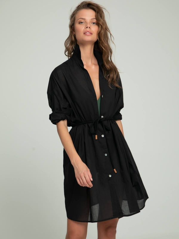 Lilya Ria Shirt Dress Black | Perlu