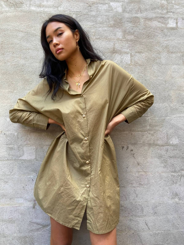 Lilya Ria Shirt Dress Khaki | Perlu