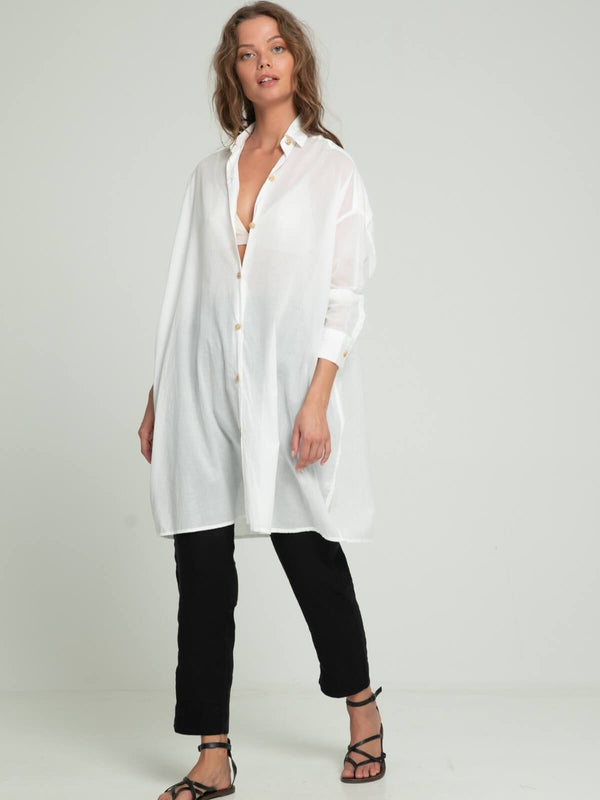 Lilya Ria Shirt Dress White | Perlu