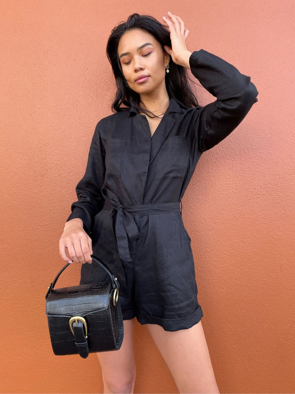 Lilya Tayana Playsuit Black | Perlu