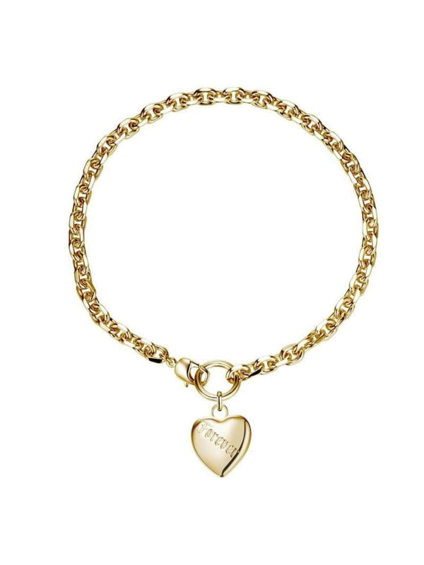 F+H Jewellery | Love Forever Tattoo Heart Necklace: Brass + 18K Gold | Perlu
