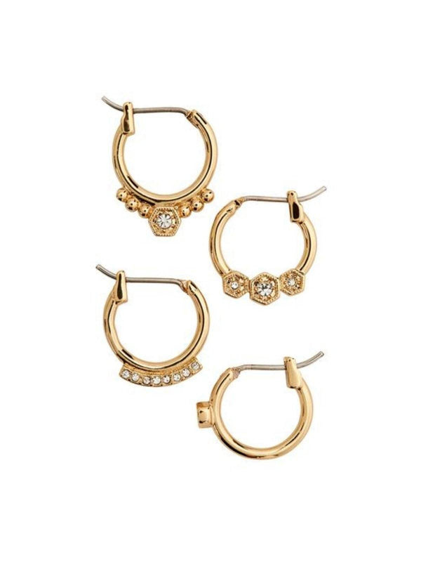 Luv AJ Full Bloom Hoop Earring Set Gold | Perlu