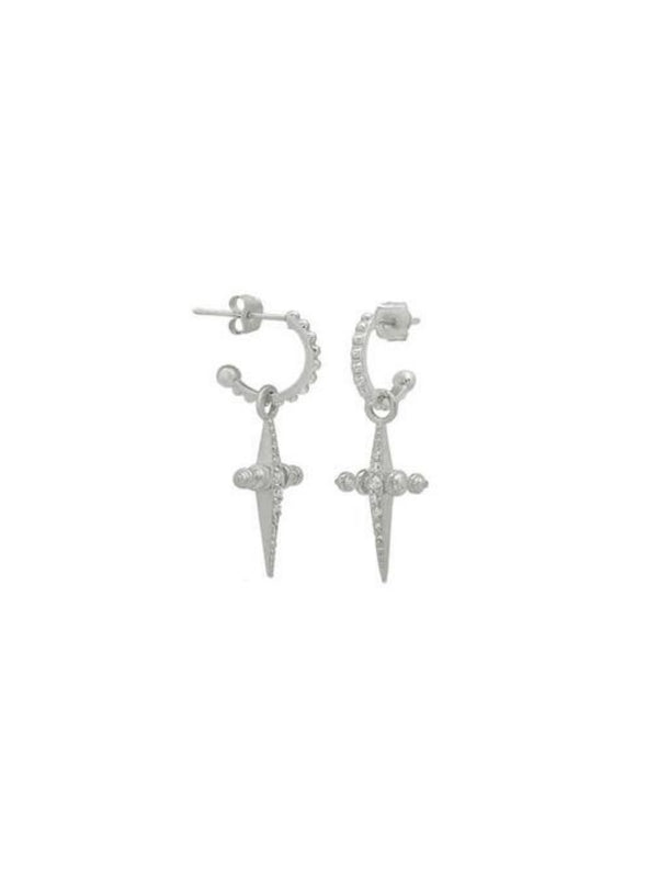 Luv AJ Pave Mini Cross Hoops Silver | Perlu