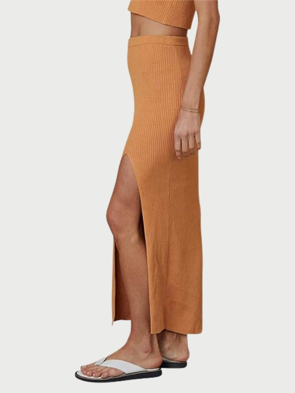 Bec + Bridge Margot Knit Midi Skirt Nutmeg | Perlu