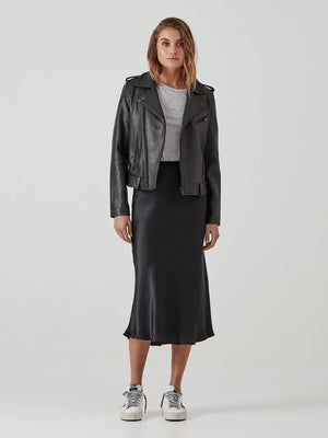 Minimalist Biker Jacket - Black Pebbled