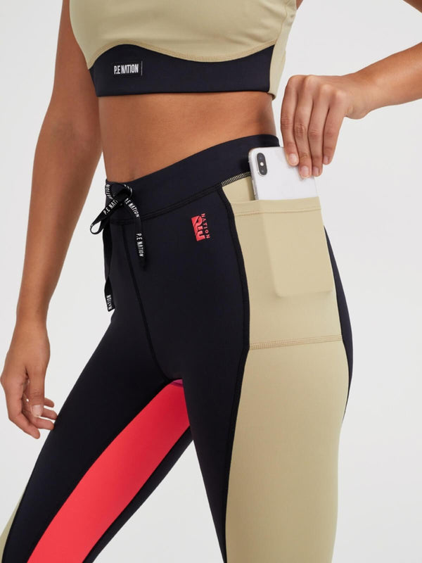 P.E Nation | Double Team Leggings - Olive Gray | Perlu
