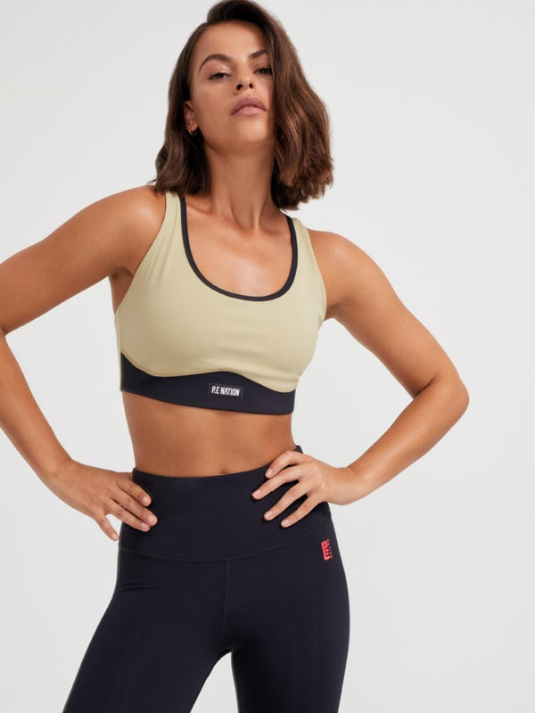 P.E Nation | Double Team Sports Bra - Olive Gray | Perlu