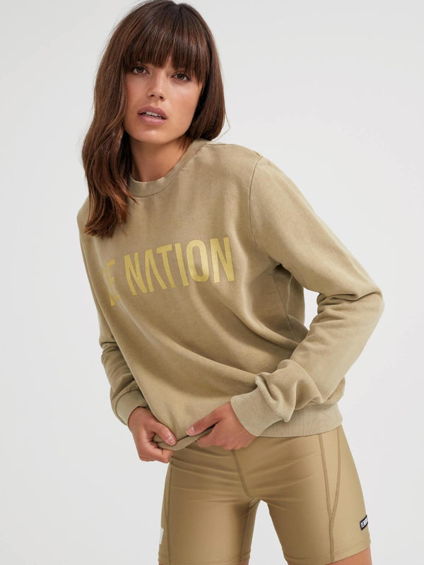 P.E Nation Fortify Sweat Olive Gray | Perlu