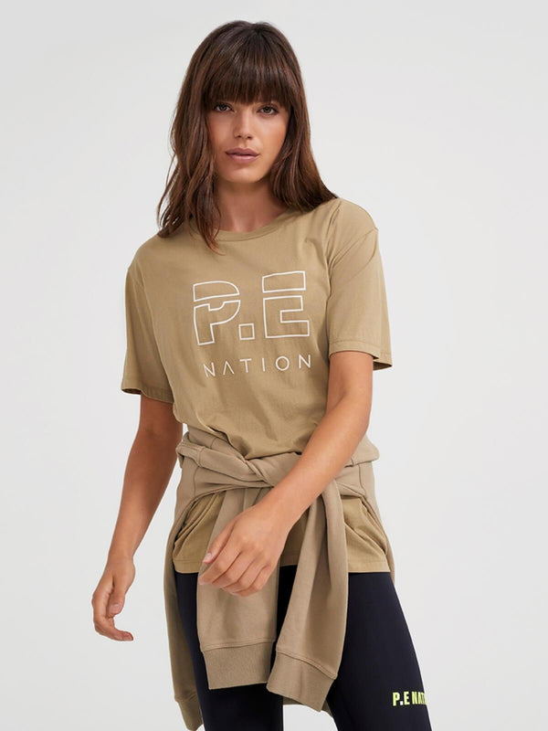 Heads Up Tee - Olive Gray Tops P.E Nation