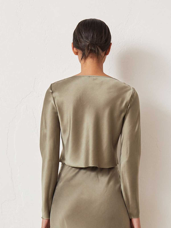 Bec & Bridge I Classic Silk Long Sleeve Top - Khaki I Perlu