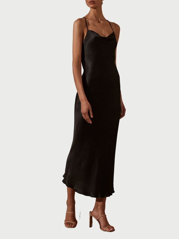 Shona Joy Giselle Cowl Back Bias Midi Dress - Black | Perlu