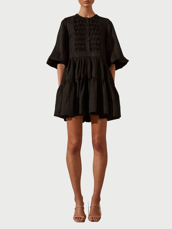 Shona Joy Margaux Tuxedo Shirt Dress - Black | Perlu