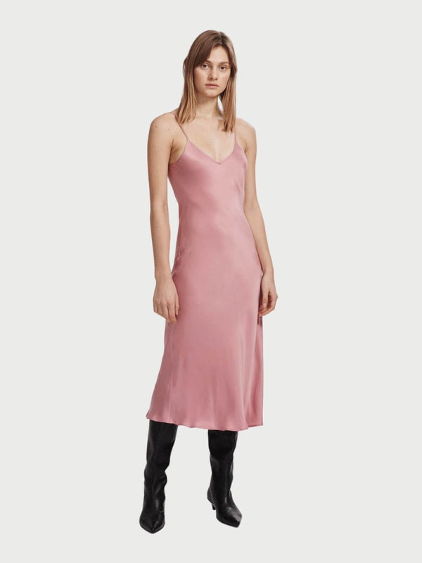 Silk Laundry 90's Silk Slip Dress - Pink | Perlu