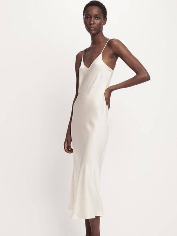Silk Laundry | 90's Silk Slip Dress - White | Perlu