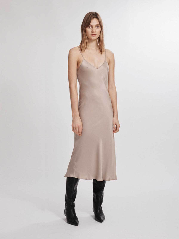 90's Silk Slip Dress - Aluminium