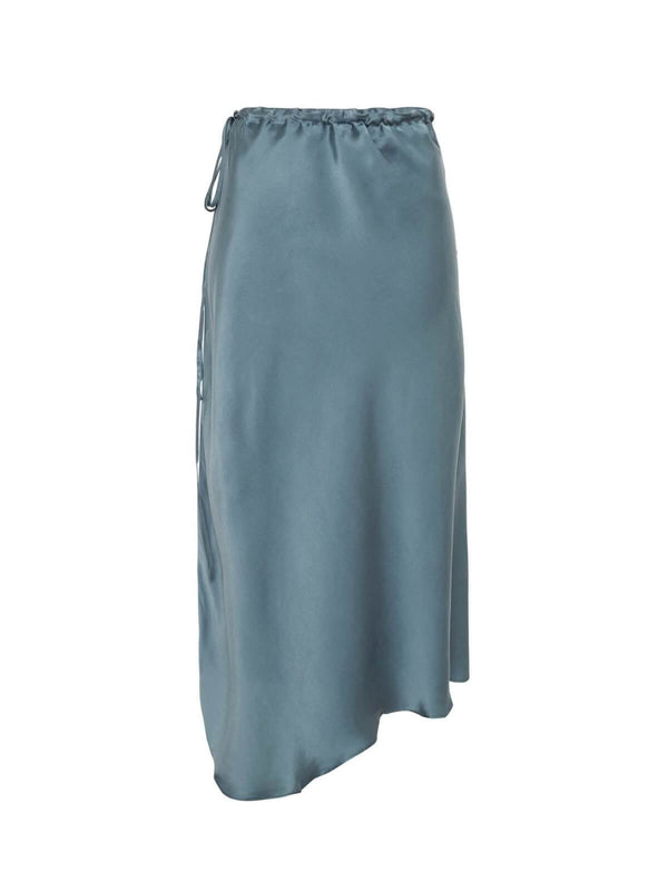 Silk Laundry Asymmetric Skirt Shark Grey | Perlu