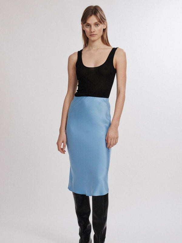 Silk Laundry | Bias Cut Skirt - Airy Blue | Perlu