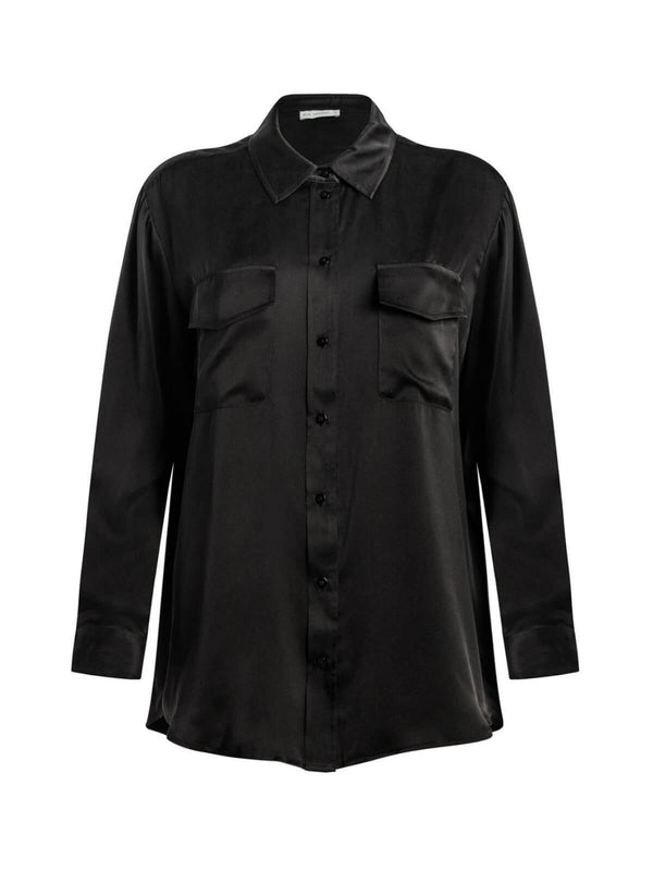 Silk Laundry Boyfriend Shirt Black | Perlu