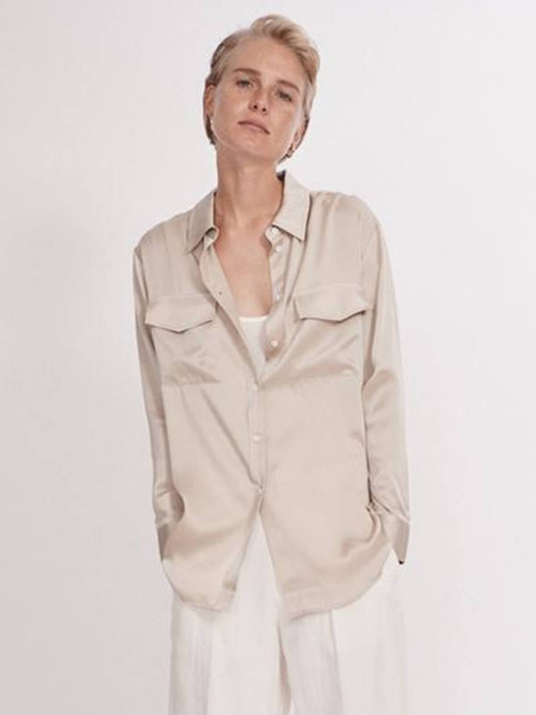 Silk Laundry Boyfriend Shirt Hazelnut | Perlu