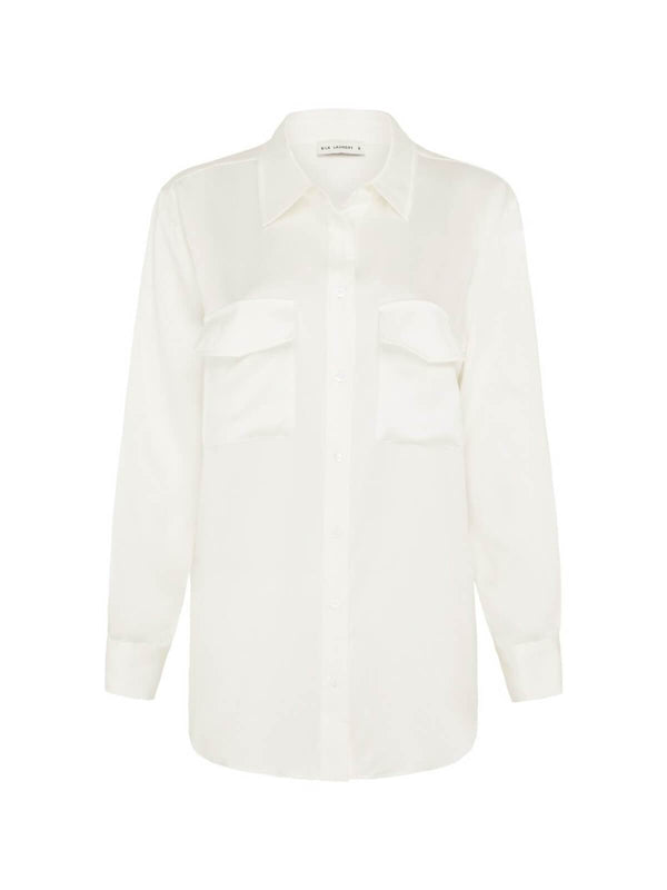 Silk Laundry Boyfriend Shirt White | Perlu