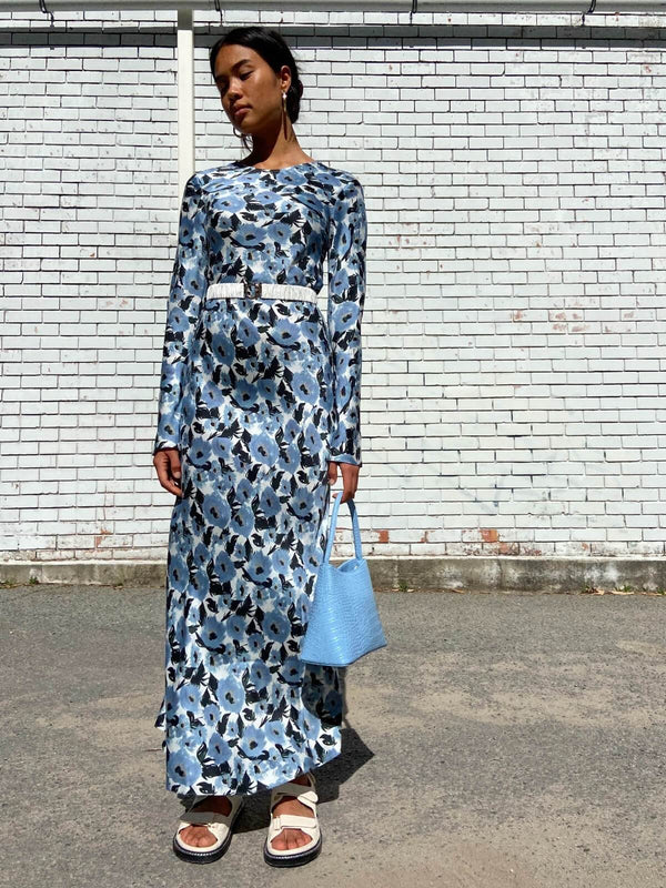 Full Sleeve Bias Cut Dress - French Flowers Dresses & Jumpsuits Silk Laundry
