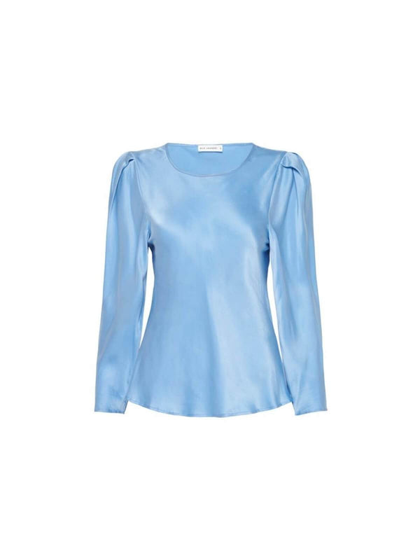 Silk Laundry | Origami Sleeve Top - Airy Blue | Perlu