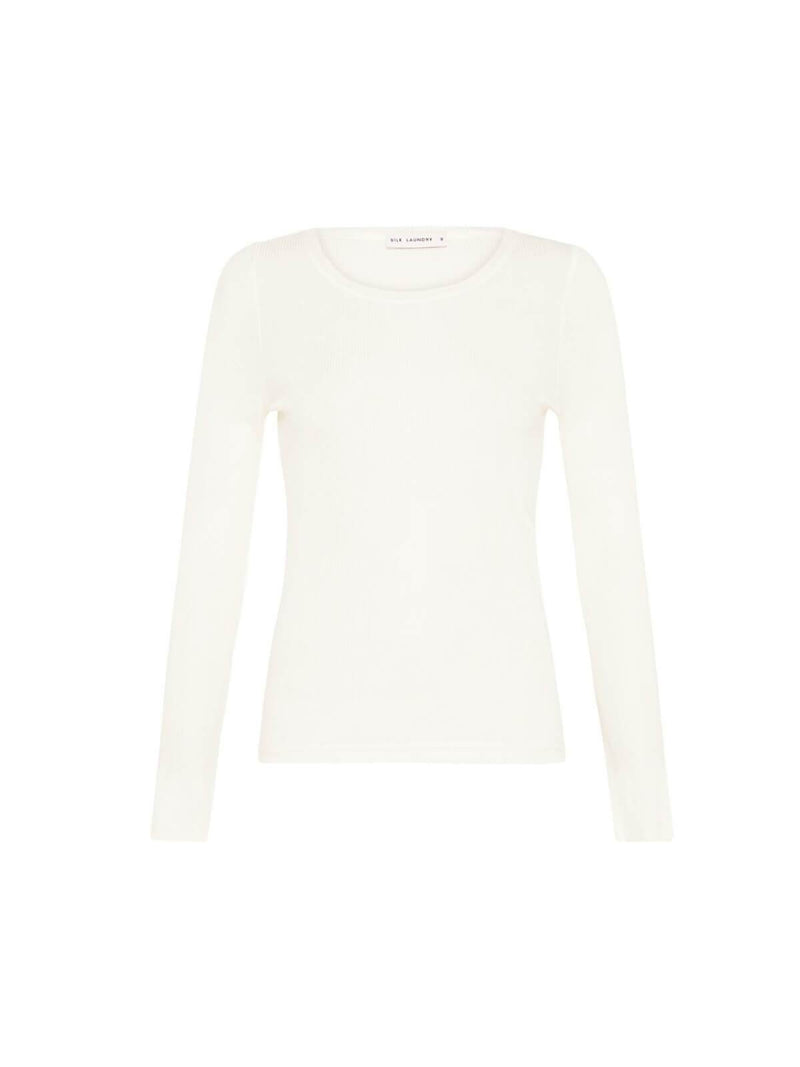 Silk Laundry | Ribbed Long Sleeve Top - White | Perlu
