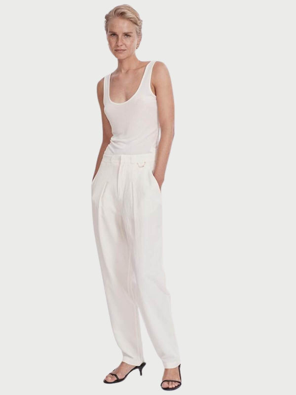 Silk Laundry Silk Linen Trousers - White | Perlu