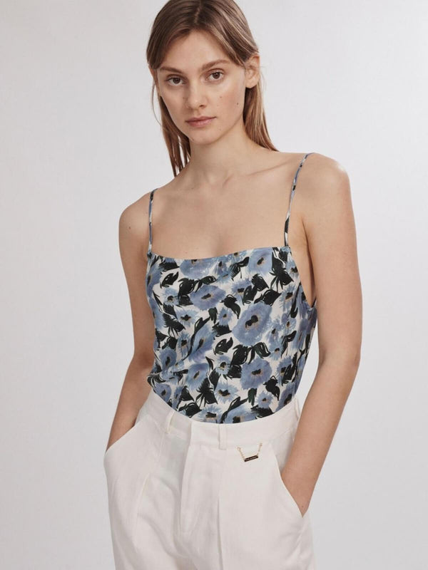 Silk Laundry | Straight Neck Cami - French Flowers | Perlu
