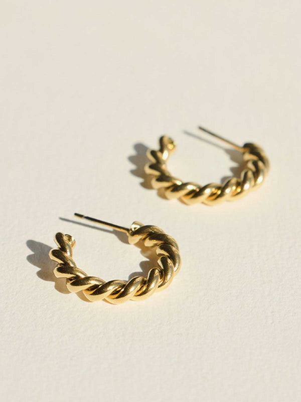 Brie Leon Small Twist Earrings Gold | Perlu