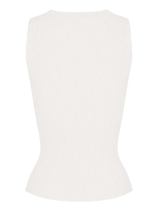 St Cloud Carrie Rib Knit Tank White | Perlu