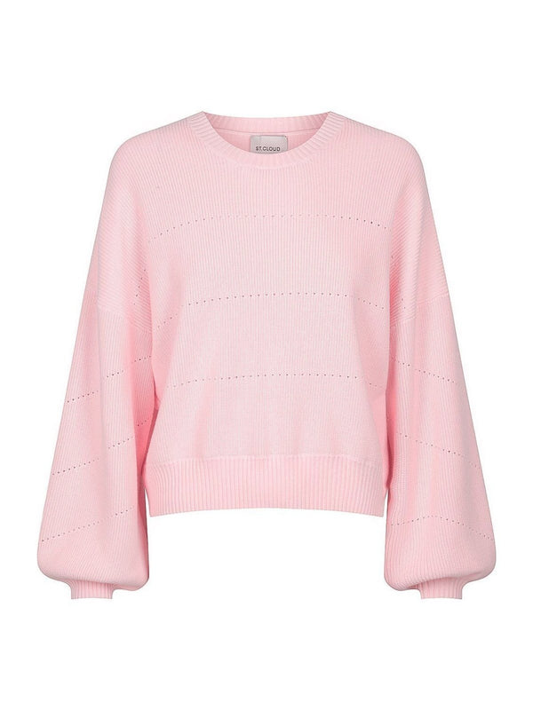 St Cloud Cotton Pointelle Crew Pale Pink | Perlu