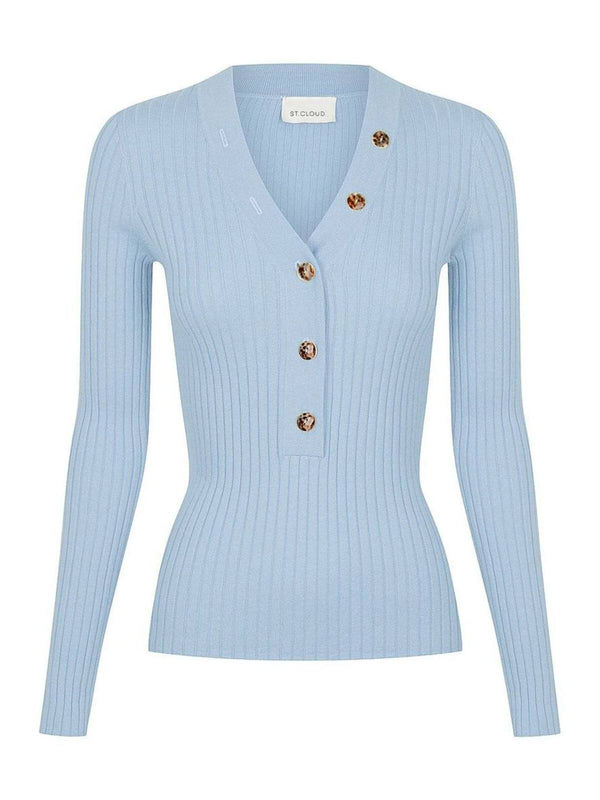 Long Sleeve V Neck Button Rib - Cloud Blue Tops St. Cloud
