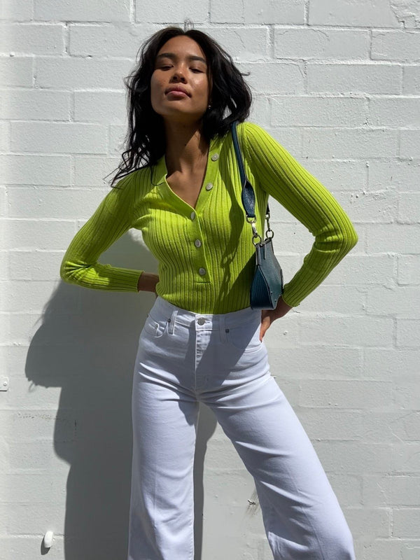 St Cloud Long Sleeve V Neck Button Rib Luminous Lime | Perlu