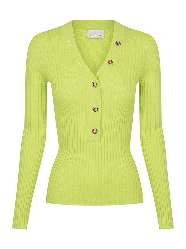 Long Sleeve V Neck Button Rib - Luminous Lime Tops St. Cloud