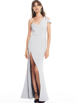 Talulah Stand Alone Gown - One Shouldered Dove Grey Maxi Dress with Split | Perlu