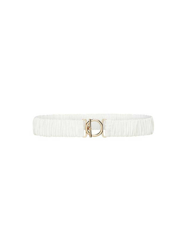 T Bar Clasp Silk Belt - White