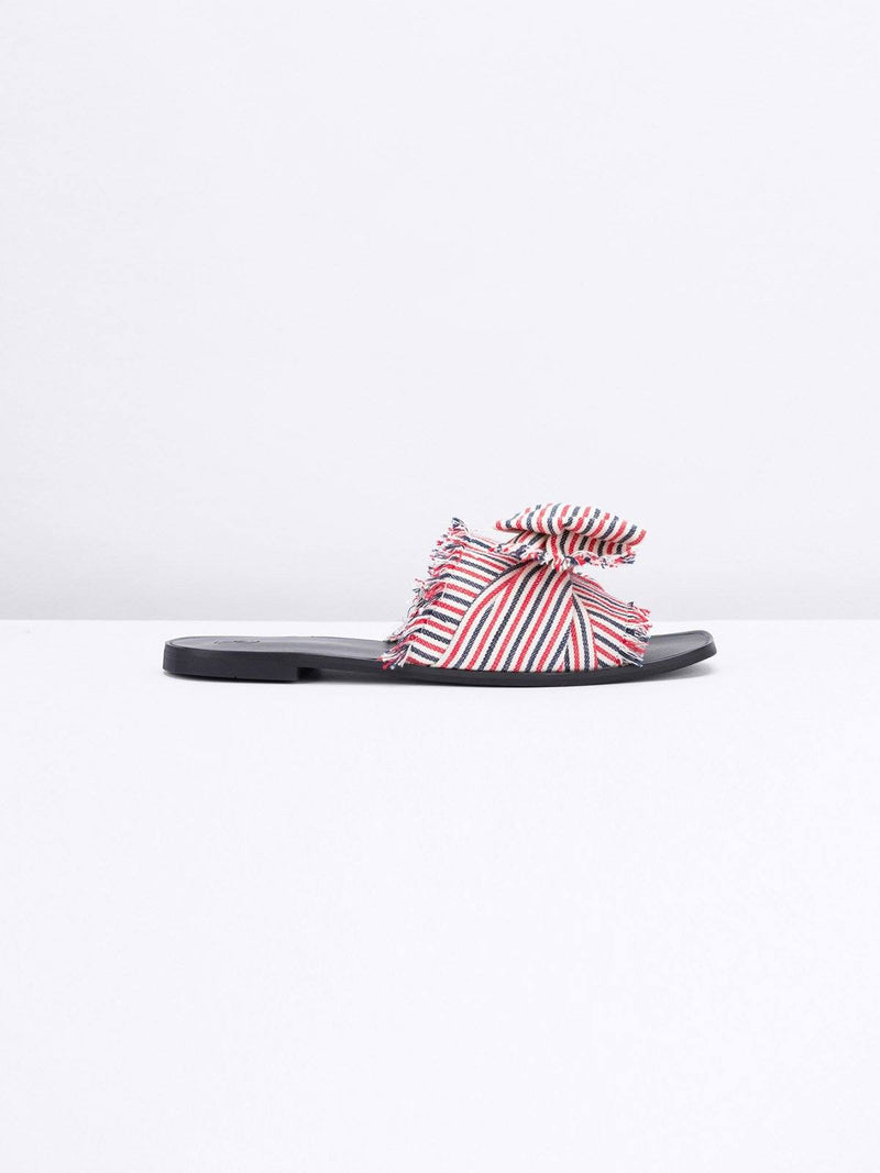 The Wolf Gang Samabe Slides Stripe Linen Pink | Perlu