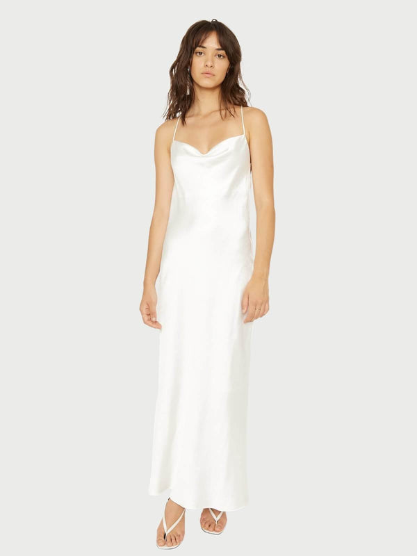 Third Form Cross Back Cowl Bias Maxi Off White | Perlu