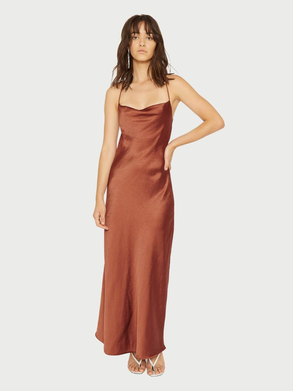 Third Form Cross Back Cowl Bias Maxi Sienna | Perlu