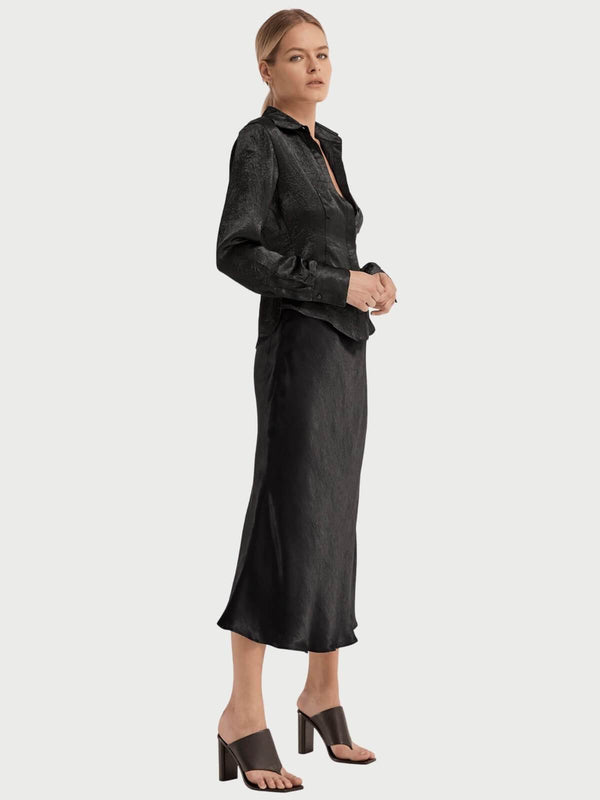 Third Form | Running Water Bias Midi Skirt - Black | Perlu
