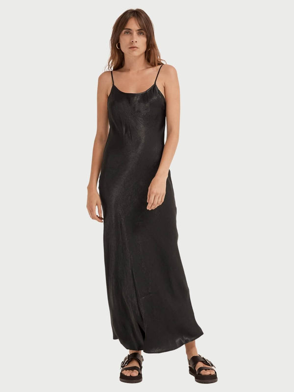 Third Form | Running Water Bias Slip Dress - Black | Perlu