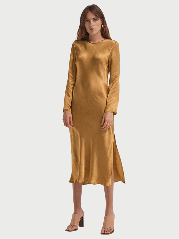 Third Form | Running Water Bias  LS Slip Dress - Copper | Perlu