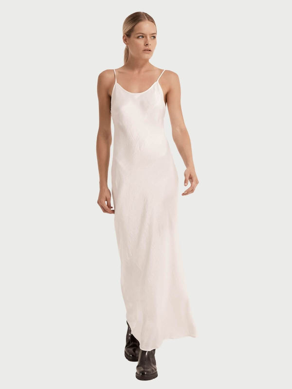 Third Form | Running Water Bias Slip Dress -  White | Perlu