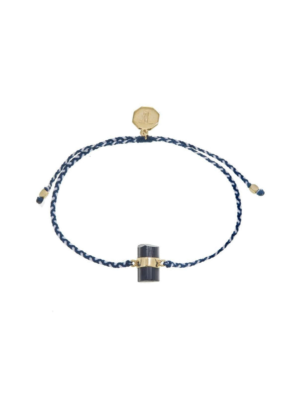 Tiger Frame | Woven Crystal Bracelet | Gold - Blue & White / Black Tourmaline | Perlu