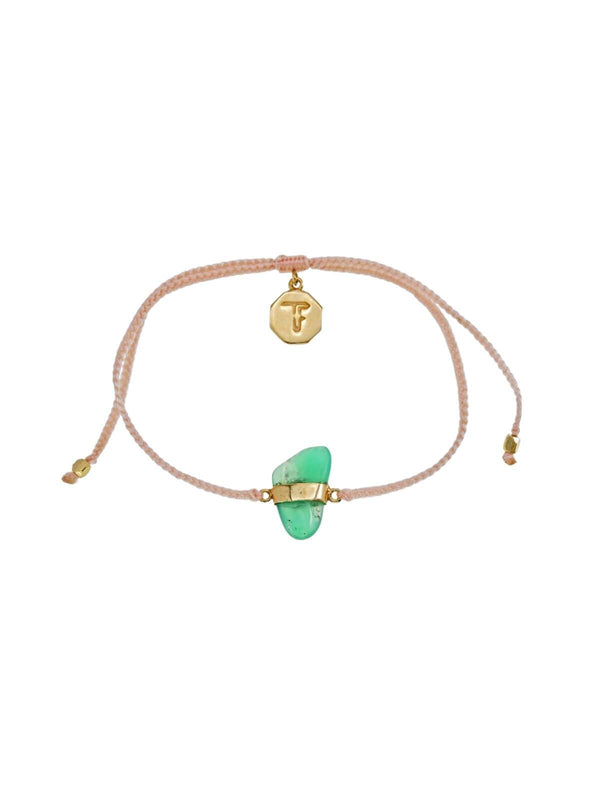Woven Crystal Bracelet | Gold - Pale Pink / Chrysophase | Perlu