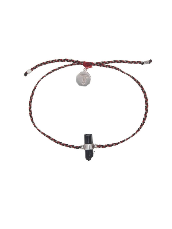 Tiger Frame | Woven Crystal Bracelet | Silver - Red / Black Tourmaline | Perlu