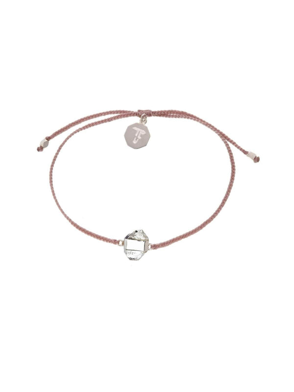 Woven Crystal Bracelet | Silver - Dusty Pink / Diamond Quartz | Perlu