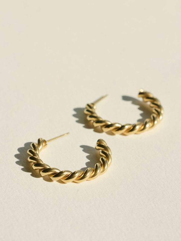 Brie Leon Twist Earrings Large Gold | Perlu